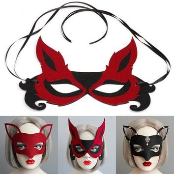 NEW For Halloween Party/ Stage Performance/ Party/ Dress Costume/ Cosplay/ Kids and Adult Felt Cloth Black Cute Fox Mask