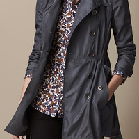 Short Gathered-Waist Trench Coat