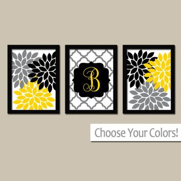 Yellow Black Wall Art, Monogram Flower Wall Art, Family Initial Wedding Gift Wall Art, Girl CANVAS or Prints Set of 3, Gift for Girl