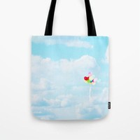 Sky Blue Tote Bag - Balloon Tote - Cloud Photography - Nature Tote - Shopping Bag - Rainbow Colors - Shopping Tote
