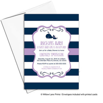 baby girl shower nautical invitation whale | navy and purple baby shower invites for a girl | printable or printed - WLP00797