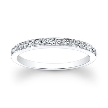 Ladies 18kt thin pave diamond wedding band 0.15 ctw G-VS2 diamond quality