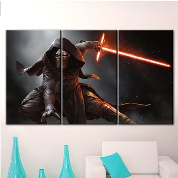 3 Panel Star Wars Kylo Ren Panel Wall Art Modular Poster Picture Framed UNframed