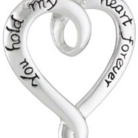 """Sterling Silver """"You Hold My Heart Forever"""" Heart Pendant Necklace, 18"""":Amazon:Jewelry"""