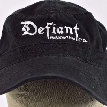 DCK4S2 Black Defiant Brewing Co Pearl River NY Embroidered Cadet hat cap Adjustable