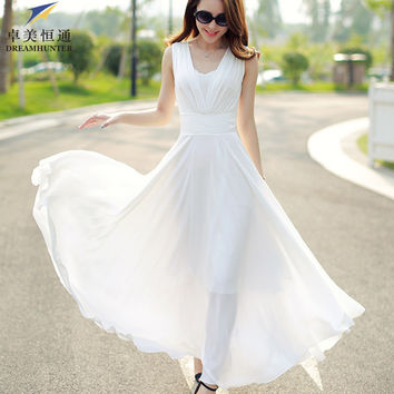 Women new summer fashion long casual dress v neck sleeveless solid long chiffon maxi dress white bohemian dress plus size vestid