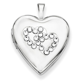 Sterling Silver Crystal Double Hearts Heart Locket QLS648