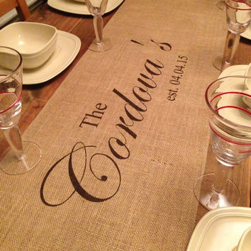 "Burlap Table Runner  12"", 14"", or 15"" wide with a Name & est date in center of runner"