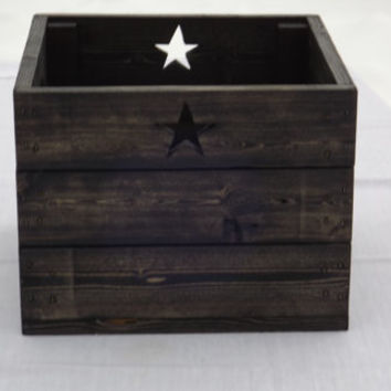 Wooden Storage Crate With Stars and Handles, Ebony Finish, Storage Box, Home Decor