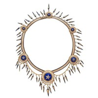 Antique Victorian Blue Enamel Pearl Changeable Necklace from Cameo Corner