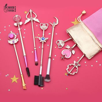 Free shipping 20 style sailor moon/Cardcaptor Sakura Makeup outfit/makeup brush/comb/mirror Woman gift and Exquisite packing