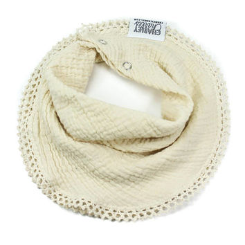 ECRU and Cream Crochet Lace Baby Girl Scarf Bandana Style Bib / Scarf Bib / Cotton Gauze Baby Girl Bib / Drool Bib