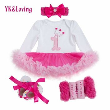 1 st Girls Bodysuit Baby Girl Clothes Baptism Dresses Pink Long Sleeve Dress baby body Clothing Tutu Clothes 4pcs/set