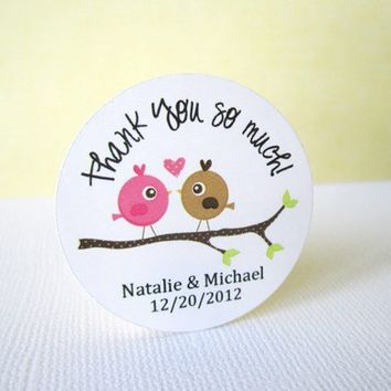 Personalized Love Birds in Branch Label Stickers in pink and brown