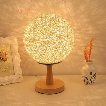 bedroom bedside table lights fashion modern decorative lamp cane twine night light E27 bulb