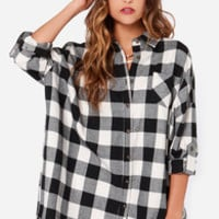 Over and Over Oversized Black Plaid Shirt Dress