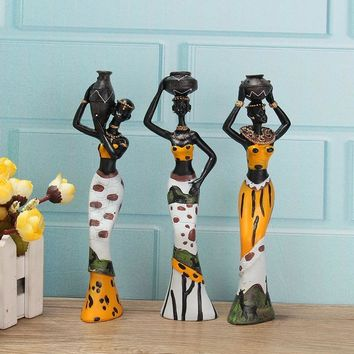 3PCS African Lady With Vase Ornament Ethnic Statue