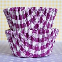 Purple Gingham Baking Cups