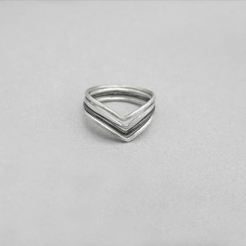 Chevron sterling silver rings,  above knuckle ring set, skinny stackable rings, midi stacking dainty rings, everyday jewelry