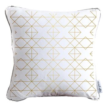 Gold Abstract Geometric Throw Pillow w/ Reversible Gold & White Sequins - COVER ONLY (Inserts Sold Separately)