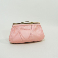 Vintage Pink Purse 60s Clutch Small 1960s Frame Bag
