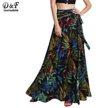 Dotfashion Ladies Tropical Print Self Tie Wrap Skirt Summer A Line Boho Maxi Bottoms Women's Beach Wear With Belt Skirts