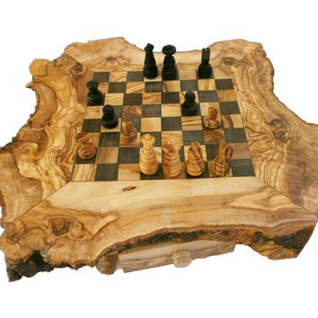 Unique Olive Wood Natural Edges Chess Set, Personalized Custom Wooden Chess Boar