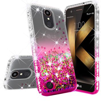LG K20 Plus Case, LG K20 V, K10 2017, LG Harmony Case Liquid Glitter Phone Case Waterfall Floating Quicksand Bling Sparkle Cute Protective Girls Women Cover for K20 Plus/K20 V/K10 2017/Harmony - Hot Pink