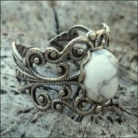 $17 Filigree Ring White Howlite Stone and Silver by ragtrader on Etsy