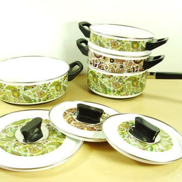 1950s Paisley Enamelware Cooking Set - Mid Century Floral Cookware