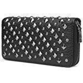 Black Retro Punk Studded Leather Clutch Wallet