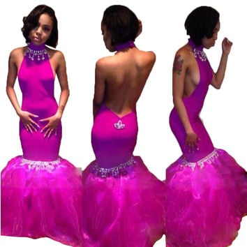 Sexy Halter Prom Dresses Crystals  Mermaid Prom Dresses Long Aso Ebi Styles Party Gowns Vestido De Festa Robe De Soiree