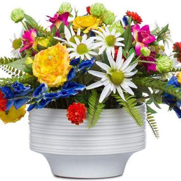 Mixed Flowers In White Bowl
