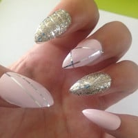 24 Set of Stiletto False Nails, Gold/Silver/Pink