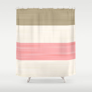 Brush Stroke Stripes: Neapolitan Ice Cream Shower Curtain by Kat Mun