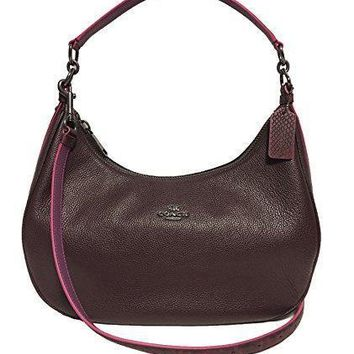 Coach Pebble Leather Harley East West Hobo In Midnight F38250 Immid