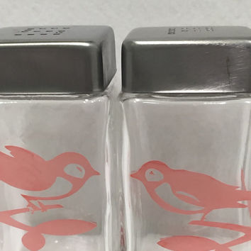 Tinted etched glass salt and pepper shakers,  sandblasted, lovebirds, large restaurant size, bird S and P shakers, square, coordinating,