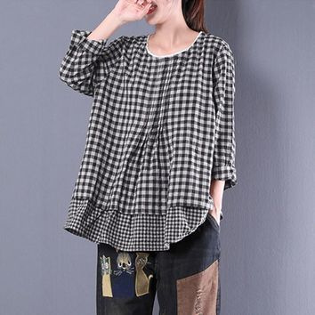 ZANZEA 2018 Autumn Women Long Sleeve Plaid Check Blouse Casual Lace Crochet Ruffles Cotton Linen Shirt Vintage Work Top Blusas