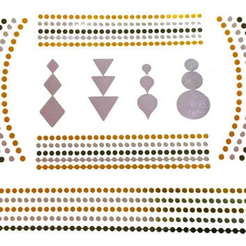 Tribal Dots Metallic Temporary Tattoo Gold Silver Festival Beach Holiday Gift Present Flash Tattoo Birthday Anniversary