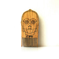 Star Wars Beard Comb C-3PO Robot Shaped Wooden Mustache Comb Gift idea Men For Him Fathers Day Gift Gift for Him Husband Gift Friend Gift