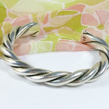 Vintage Sterling Silver Cuff Bracelet Twisted 925 Sterling Silver Thick Heavy Outstanding Stylish Twisted Sterling Silver