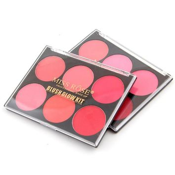 Pigmented 6 Colors Blusher Makeup Palette Glow Kit Pressed Blusher Powder Palette Charming Cheek Color Make Up Face Blush