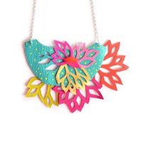 Leaf Flower Bib Necklace, Hand Cut Leather Necklace, Statement Jewelry | Boo and Boo Factory - Handmade Leather Jewelry
