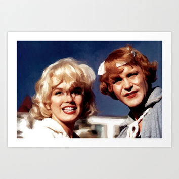 Marilyn Monroe & Jack Lemon Portrait Art Print by Gabriel T Toro