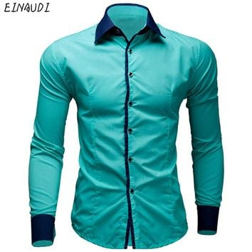 EINAUDI New Mens Dress Shirts Casual Shirts Hawaiian Style Slim Long Sleeve Dress Shirts Camisa Masculina Casual Shirts M-XXL