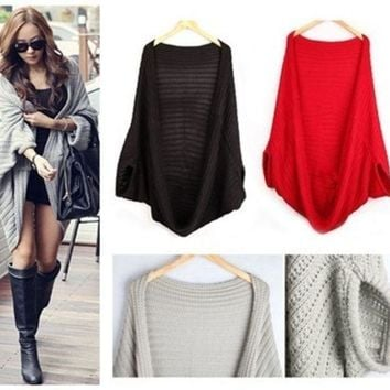 PEAPIX3 knitted sweater Women Sweatshirt Knitted Sweater Batwing Cape Shawls Long Cardigan Jacket = 1946141764