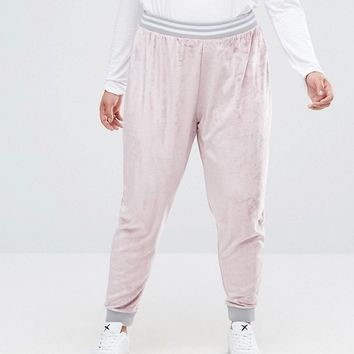 ASOS CURVE Velvet Tracksuit Pant With Contrast Tipping Co-ord at asos.com