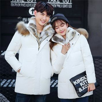 Winter Women Rabbit Fur Collar Down Jacket Men Long Thick Plus Size 5XL Young Couple Hooded Warm Lovers Parkas Mujer MZ1973
