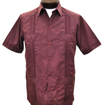D'Accord Men's Short Sleeve Burgundy Guayabera Shirt