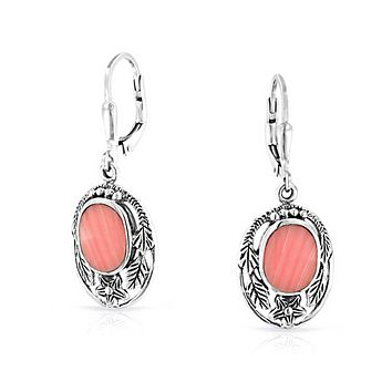 Pink Oval Flower Coral Dangle Leverback Earring 925 Sterling Silver